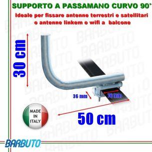 SUPPORTO A PASSAMANO CURVO PER PARABOLA BALCONE/CORRIMANO E ANTENNA A BALCONE