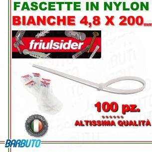 FASCETTA PER CABLAGGIO IN NYLON BIANCO 4,8 X 200mm FRIULSIDER (ALTISSIMA QUALITÀ)