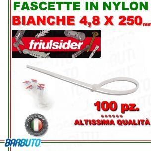 FASCETTA PER CABLAGGIO IN NYLON BIANCO 4,8 X 250mm FRIULSIDER (ALTISSIMA QUALITÀ)