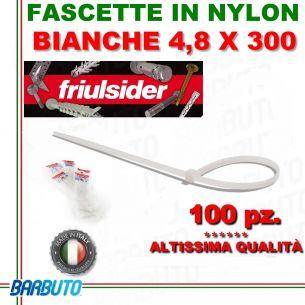 FASCETTA PER CABLAGGIO IN NYLON BIANCO 4,8 X 300mm FRIULSIDER (ALTISSIMA QUALITÀ)