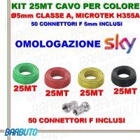 4 MATASSE DA 25 METRI DI CAVO COASSIALE COLORATO TV DA 5mm, 25 MT PER COLORE CLASSE A  MICROTEK MODEL H355A + CONNETTORI