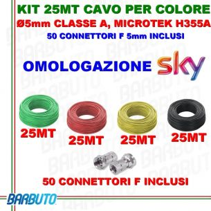 KIT CAVO COASSIALE TV 5mm, 25 MT PER COLORE,CLASSE A, MICROTEK H355A + CONNETTORI