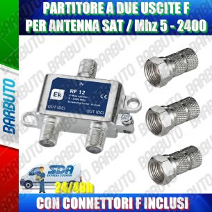 PARTITORE SATELLITARE SPLITTER 2 USCITE CON CONNETTORI F + 3 CON F 6,8mm INCLUSI