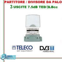 PARTITORE / DIVISORE DA PALO A 3 USCITE CONNETORI F CON PASSAGGIO CC - TELECO