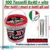 100 TASSELLI UNIVERSALI FRIULSIDER X1 IN NYLON 8X40 mm CON VITE E CON SECCHIELLO