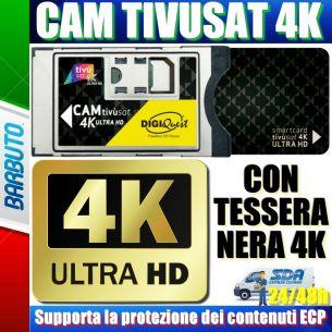 CAM TIVUSAT 4K ULTRA HD CERTIFICATA TIVUSAT + TESSERA 4K NERA - DIGIQUEST