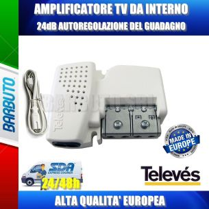 AMPLIFICATORE DA INTERNO 1 OUT AGC GUADAGNO AUTOREGOLABILE da 12 a 24 dB
