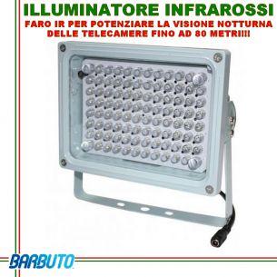 Illuminatore raggi infrarossi, faro IR, 96 led, illumina fino ad 80mt, angolo 60°, IR-96