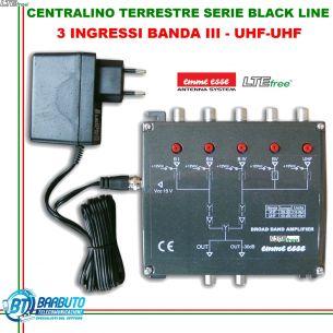CENTRALINO TV SERIE BLACK LINE LTE 3 INGRESSI VHF 30dB UHF-UHF 37dB EMMESSE 82359L