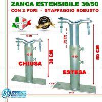ZANCA TIPO EMILIA 30/50 CM TELESCOPICA REGOLABILE,STAFFA X ANTENNA-MADE IN ITALY