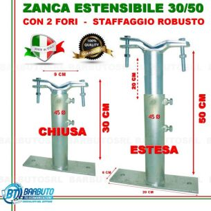 ZANCA TIPO EMILIA 30/50 CM TELESCOPICA REGOLABILE,STAFFA X ANTENNA-MADE IN ITALY