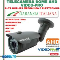 TELECAMERA BULLET AHD 720P - IR LED - OTTICA FISSA 3.6mm - VIDEOPRO VP100H By EMMEESSE
