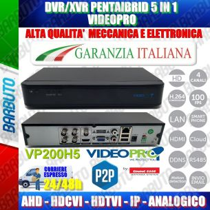 DVR 4 CANALI IBRIDO AHD, IP, ANALOGICO CON SISTEMA P2P / CLOUD VIDEOPRO By Emmeesse
