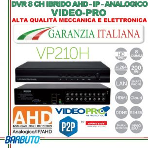 DVR 8 CANALI IBRIDO AHD, IP, ANALOGICO CON SISTEMA P2P / CLOUD VIDEOPRO By Emmeesse