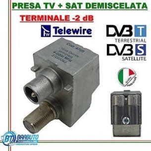 PRESA TV + SAT DEMISCELATA TERMINALE RANGE40-860 / 950-2300 MHz -2 db Cod.4720