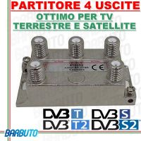PARTITORE / DIVISORE / SPLITTER 4 OUT PER TV - SAT - SCR CON CONNET. F 410052