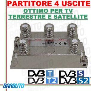 PARTITORE / DIVISORE / SPLITTER 4 OUT PER TV - SAT - SCR CON CONNET. F 410052