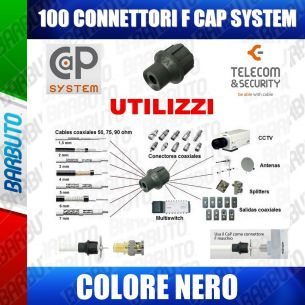 100 CONNETTORI A PRESSIONE CAPS CAP COLORE NERO ALTA QUALITA' TELECOM & SECURITY