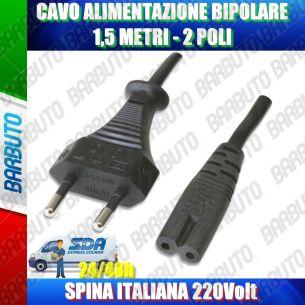 3 CAVO DI ALIMENTAZIONE BIPOLARE 1,5 METRI 2 POLI SPINA ITALIANA 220V