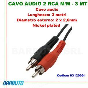 CAVO AUDIO 2 RCA MASCHIO/MASCHIO - 3 Mt, DIAMETRO ESTERNO 2 x 2,6mm