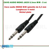 CAVO AUDIO MONO JACK 6.3mm MASCHIO/MASCHIO - 5 mt