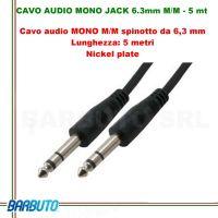 CAVO AUDIO MONO JACK 6.3mm MASCHIO/MASCHIO - 5 mt