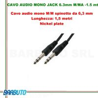 CAVO AUDIO MONO JACK 6.3mm MASCHIO/MASCHIO - 1.5 mt