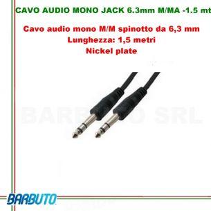 CAVO AUDIO MONO JACK 6.3mm MASCHIO/MASCHIO - 1.5 mt
