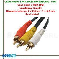CAVO AUDIO 3 RCA MASCHIO/MASCHIO - 5 MT, Diametro esterno:2x2,8mm-1x6mm, GOLD