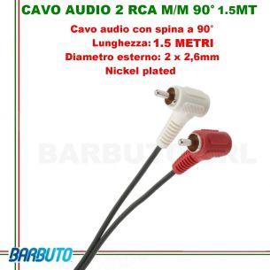 CAVO AUDIO 2 RCA MASCHIO/MASCHIO A 90° - 1.5 MT, Diametro esterno: 2 x 2,6mm