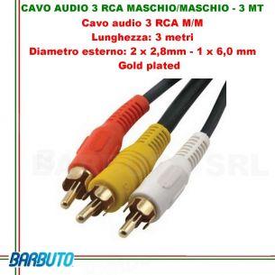 CAVO AUDIO 3 RCA MASCHIO/MASCHIO - 3 MT, Diametro esterno:2x2,8mm-1x6mm, GOLD