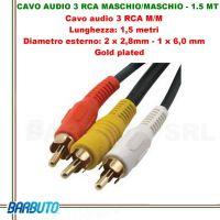 CAVO AUDIO 3 RCA MASCHIO/MASCHIO - 1.5 MT, Diametro esterno:2x2,8mm-1x6mm, GOLD