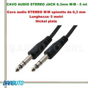 CAVO AUDIO STEREO JACK 6.3mm MASCHIO/MASCHIO - 5 mt
