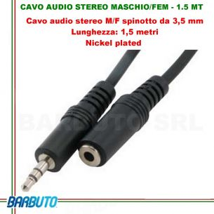 CAVO AUDIO STEREO JACK 3,5MM MASCHIO/FEMMINA - 1.5 MT