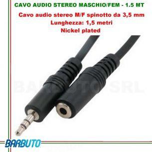 CAVO AUDIO STEREO JACK 3,5MM MASCHIO/FEMMINA - 1.5 MT