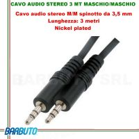 CAVO AUDIO STEREO JACK 3,5MM MASCHIO/MASCHIO - 3 MT