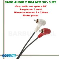 CAVO AUDIO 2 RCA MASCHIO/MASCHIO A 90° - 5 MT, Diametro esterno: 2 x 2,6mm