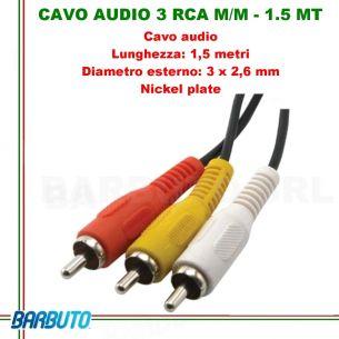 CAVO AUDIO 3 RCA MASCHIO/MASCHIO - 1.5 MT, Diametro esterno: 3 x 2,6 mm