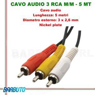 CAVO AUDIO 3 RCA MASCHIO/MASCHIO - 3 MT, Diametro esterno: 3 x 2,6 mm