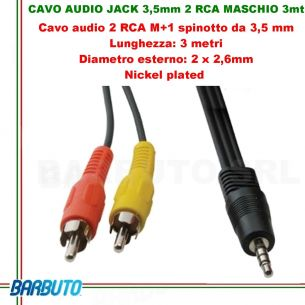 CAVO AUDIO jACK 3,5 mm 2 RCA Maschio - 3 MT, Diametro esterno: 3 x 2,6 mm