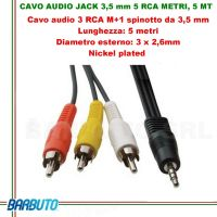 CAVO AUDIO jACK 3,5 mm 3 RCA Maschio - 5 MT, Diametro esterno: 3 x 2,6 mm