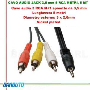 CAVO AUDIO jACK 3,5 mm 3 RCA Maschio - 5 MT, Diametro esterno: 3 x 2,6 mm