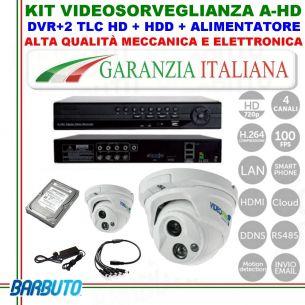 KIT CON 2 TELECAMERE DOME AHD OTTICA FISSA GRANDANGOLO 2,8mm + DVR 4 CANALI IBRIDO + HARD DISK + ALIMENTATORE