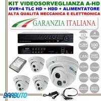 KIT CON 4 TELECAMERE DOME AHD OTTICA FISSA GRANDANGOLO 2,8mm + DVR 4 CANALI IBRIDO + HARD DISK + ALIMENTATORE