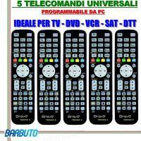 5 TELECOMANDI UNIVERSALI PROGRAMMABILI TRAMITE PC, OTTIMI PER HOTEL B&B ECC.