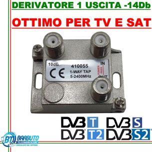 DERIVATORE 1 USCITA -18dB CONNETT. F IN PRESSOFUSIONE SIMILE AL FRACARRO DE1-18