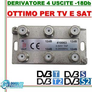 DERIVATORE 4 USCITE -18dB CONNETT. F IN PRESSOFUSIONE SIMILE AL FRACARRO DE4-18