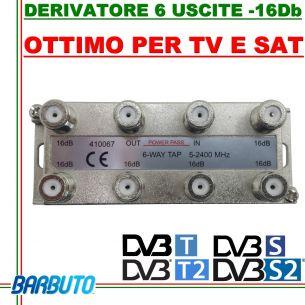 DERIVATORE 6 USCITE -16dB CONNETT. F IN PRESSOFUSIONE SIMILE AL CAD FRACARRO