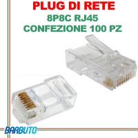 PLUG DI RETE 8P8C RJ45 CONF. 100 PZ