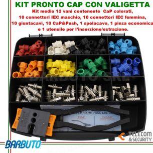 KIT VALIGETTA CaP COLORATI + CONNETTORI IEC + 1 SPELLACAVO + PINZA ED ESTRATTORE